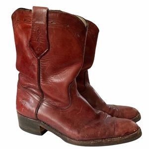 Vintage FRYE Red Leather Pull On Roper Boots 10.5